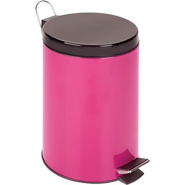 Honey Can Do 3.2 gal. Plastic Step Trash Can, Magenta