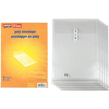 "Staples® Top-Loading Poly Envelopes, 9.25""x13"""