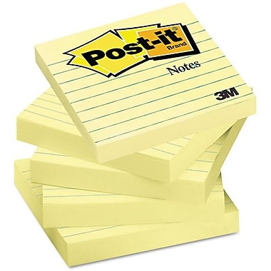 Post-it® Canary Yellow Notes, 3'' x 3'', Lined, 6 pads/pack