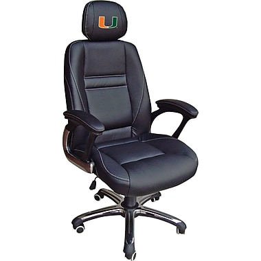 Wild Sports NCAA Leather Executive Chair, Miami Hurricanes