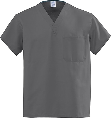 Medline AngelStat Unisex Large Reversible V-Neck Scrub Top, Gray (610NGTL-CM)
