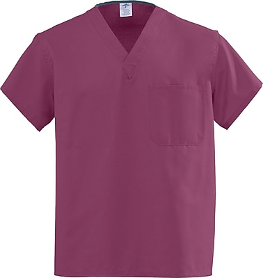 Medline AngelStat Unisex 3XL Reversible V-Neck Scrub Top, Raspberry (610NTRXXXL-CA)