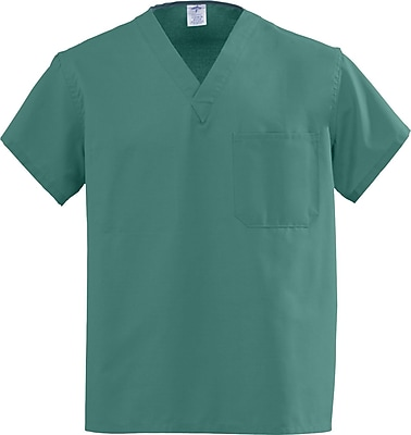 Medline AngelStat Unisex Small Reversible V-Neck Scrub Top, Emerald Green (610NJTS-CA)