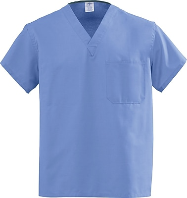 Medline AngelStat Unisex 4XL Reversible V-Neck Scrub Top, Ceil Blue (M610NTH4XL-CA)
