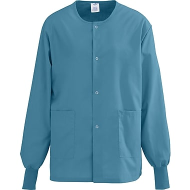Medline AngelStat Unisex Small Snap-Front Warm-Up Scrub Jacket, Peacock (849NBTS)