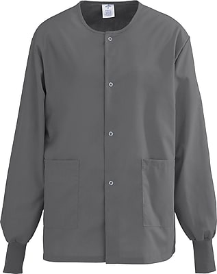 Medline AngelStat Unisex XS Snap-Front Warm-Up Scrub Jacket, Charcoal (849NCCXS)