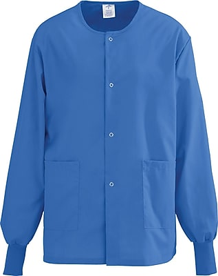 Medline AngelStat Unisex 5XL Snap-Front Warm-Up Scrub Jacket, Sapphire (849NHT5XL)