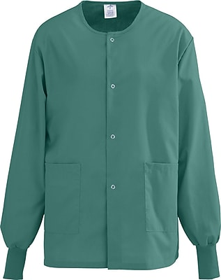 Medline AngelStat Unisex XS Snap-Front Warm-Up Scrub Jacket, Emerald (849NJTXS)