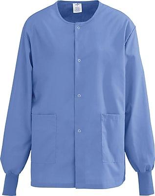Medline AngelStat Unisex Medium Snap-Front Warm-Up Scrub Jacket, Ceil Blue (849NTHM)
