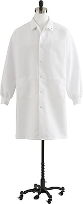 Medline Unisex Medium Knee-Length Knit Cuff Lab Coat, White (87026QHWM)