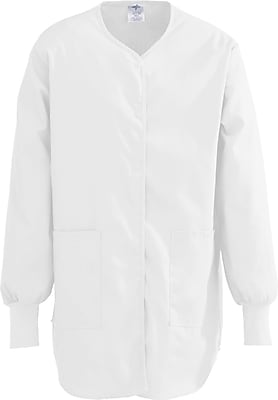 Medline ComfortEase Women 2XL Snap Front Tunic Scrub Top, White (8815XTQXXL)