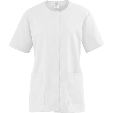 Medline ComfortEase Women Large Snap Front Tunic Scrub Top, White (8815XTQL)