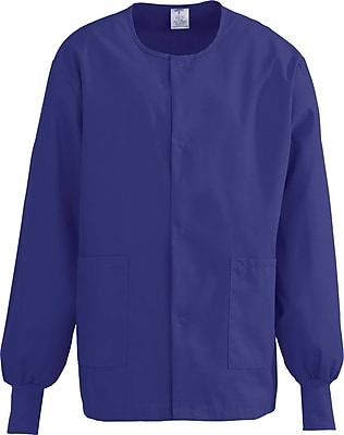 Medline ComfortEase Unisex Large Warm-Up Scrub Jacket, Rich Purple (8832JPPL)