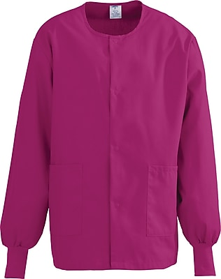 Medline ComfortEase Unisex Small Warm-Up Scrub Jacket, Ruby (8832JRBS)