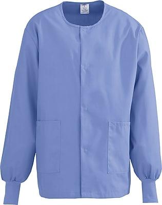 Medline ComfortEase Unisex Large Warm-Up Scrub Jacket, Ceil Blue (8832JTHL)