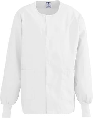 Medline ComfortEase Unisex 4XL Warm-Up Scrub Jacket, White (8832XTQ4XL)