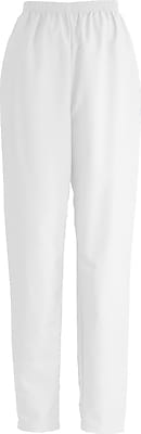 Medline ComfortEase Women Small Elastic Waist Scrub Pant, White (8850XTQS)