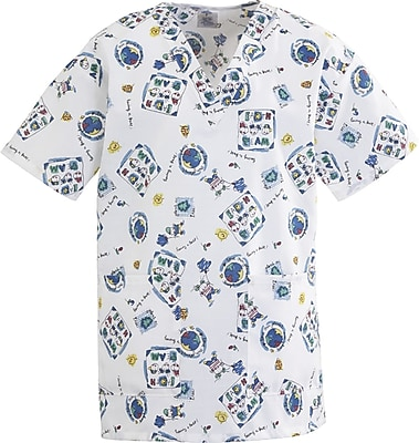Medline AngelStat Women XL V-Neck Two Pockets Scrub Top, Fun Kids Print (893JEKXL)
