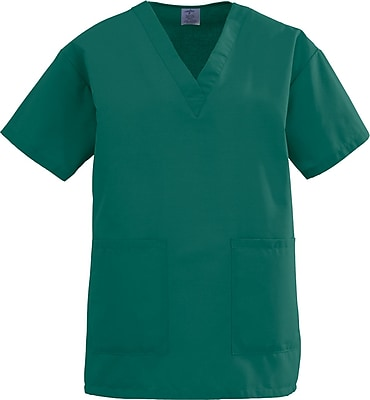 Medline AngelStat Women Large V-Neck Two-Pockets Scrub Top, Green (893NHGL)