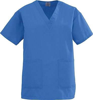 Medline AngelStat Women 5XL V-Neck Two-Pockets Scrub Top, Sapphire (893NHT5XL)