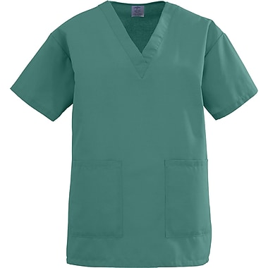 Medline AngelStat Women Large V-Neck Two-Pockets Scrub Top, Emerald (893NJTL)