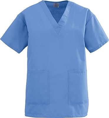 Medline AngelStat Women 5XL V-Neck Two-Pocket Scrub Top, Ceil Blue (893NTH5XL)