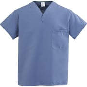 Medline ComfortEase Unisex Medium V-Neck Two-Pockets Reversible Scrub Top, Caribbean Blue (910JCBM-CM)