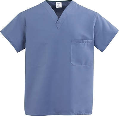 Medline ComfortEase Unisex 3XL V-Neck Two-Pockets Reversible Scrub Top, Caribbean Blue (910JCBXXXL-CM)