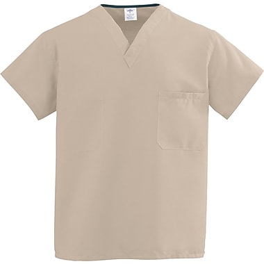 Medline ComfortEase Unisex 3XL V-Neck Two-Pockets Reversible Scrub Top, Khaki (910JKKXXXL-CM)