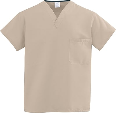 Medline ComfortEase Unisex 2XL V-Neck Two-Pockets Reversible Scrub Top, Khaki (910JKKXXL-CM)
