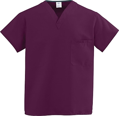 Medline ComfortEase Unisex 5XL V-Neck Two-Pockets Reversible Scrub Top, Wine (910JWN5XL-CM)