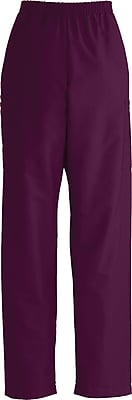 Medline ComfortEase Unisex Small, Long Length Cargo Scrub Pants, Wine (9351JWNSL)