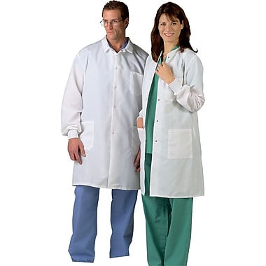 Medline ResiStat Men Large Protective Lab Coat, White (MDT046805L)