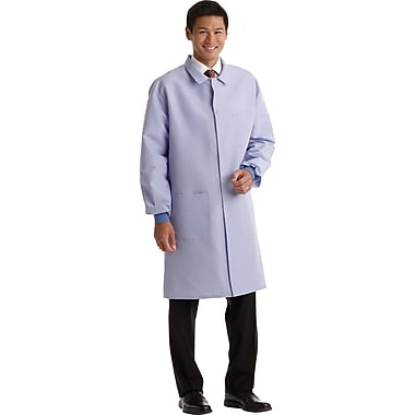 Medline ResiStat Men 3XL Protective Lab Coat, Light Blue (MDT046811XXXL)