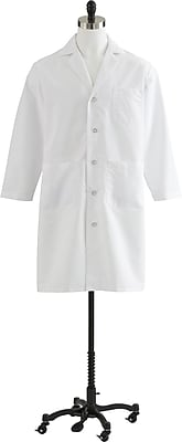 Medline Men Large Full Length Lab Coat, White (MDT14WHT44E)