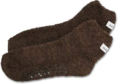 Feels Like Home® Single-tread Patient Slippers, Brown, One Size Fits Most
