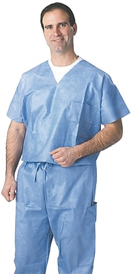 Medline Unisex Large Disposable Scrub Shirt, Blue (NON27202L)