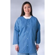Medline Unisex Small Knit Cuff/Collar Multi-Layer Material Lab Jackets, Blue (NONRP600S)