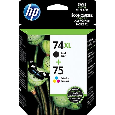 HP 74XL Black High Yield & 75 Tri-Colour Original Ink Cartridges, 2/Pack (CZ139FN)