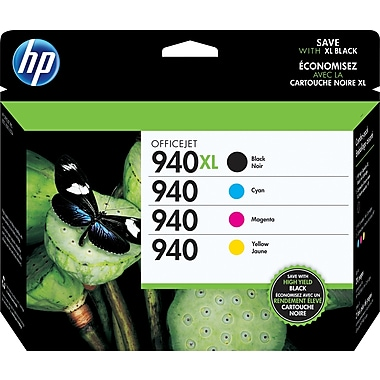 HP 940XL Black High Yield & 940 Cyan, Magenta and Yellow Original Ink Cartridges, 4/Pack (CZ143FN)