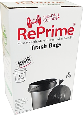 Heritage, Accufit Trash Bags in a Convenience Pack Box, 44 Gallon, 37x50, Low Density, 0.9 Mil, Black, 200 CT