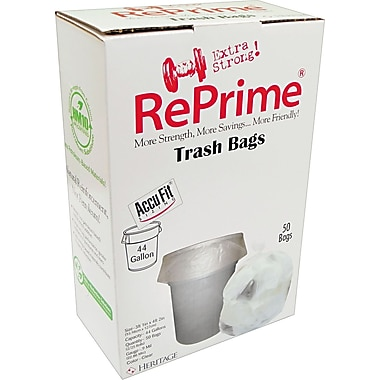 Heritage Reprime Accufit Trash Bags, Clear, 44 Gallon, 50 Bags/Box