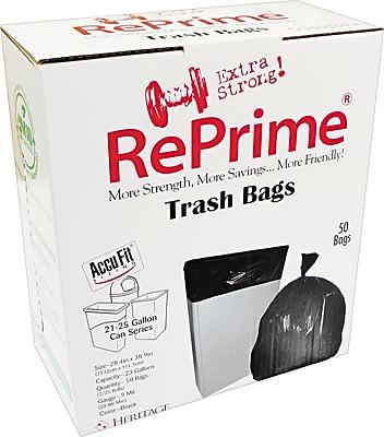Heritage Reprime Accufit Trash Bags, Black, 23 Gallon, 50 Bags/Box