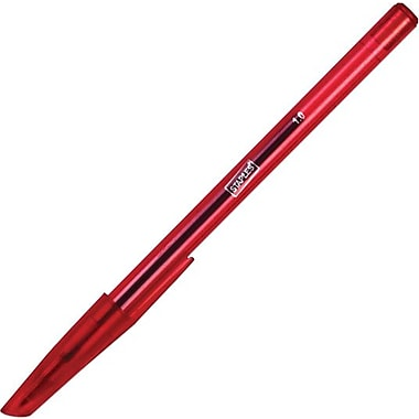 Staples® Ballpoint Stick Pen, 1.0mm, Red, 12/Pack