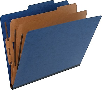 Pendaflex Paperboard Classification Folders, Letter Size, 2 Dividers, Blue, 10/Box (PFX1257GR)
