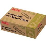 Acco® 100% Recycled #1 Size Paper Clips, Smooth, 1,000/Pack