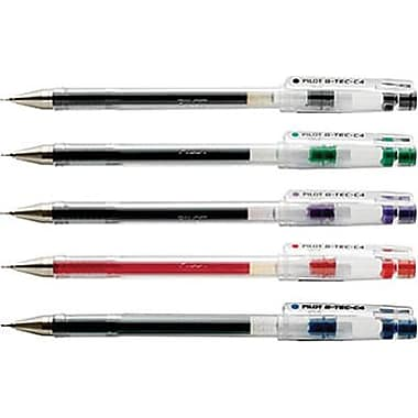 Pilot G-Tec Gel Pens, 0.4mm, Assorted, 5/Pack