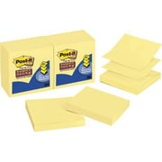 Post-it® - Feuillets super collants en éventail, jaune canari, 3 po x 3 po, paq./6 blocs