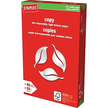 Staples® FSC-Certified Copy Paper, 20 lb., 11