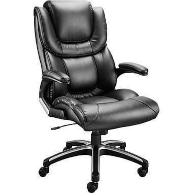 Staples McKee Luxura Faux Leather Managers Chair, Black